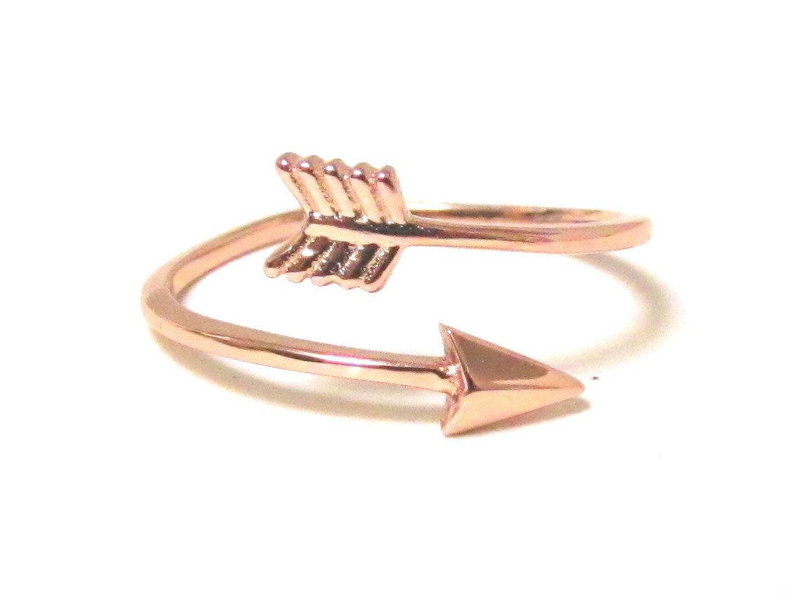 Arrow Ring Rose Gold Over Sterling Silver Arrow Ring In Size 7 on