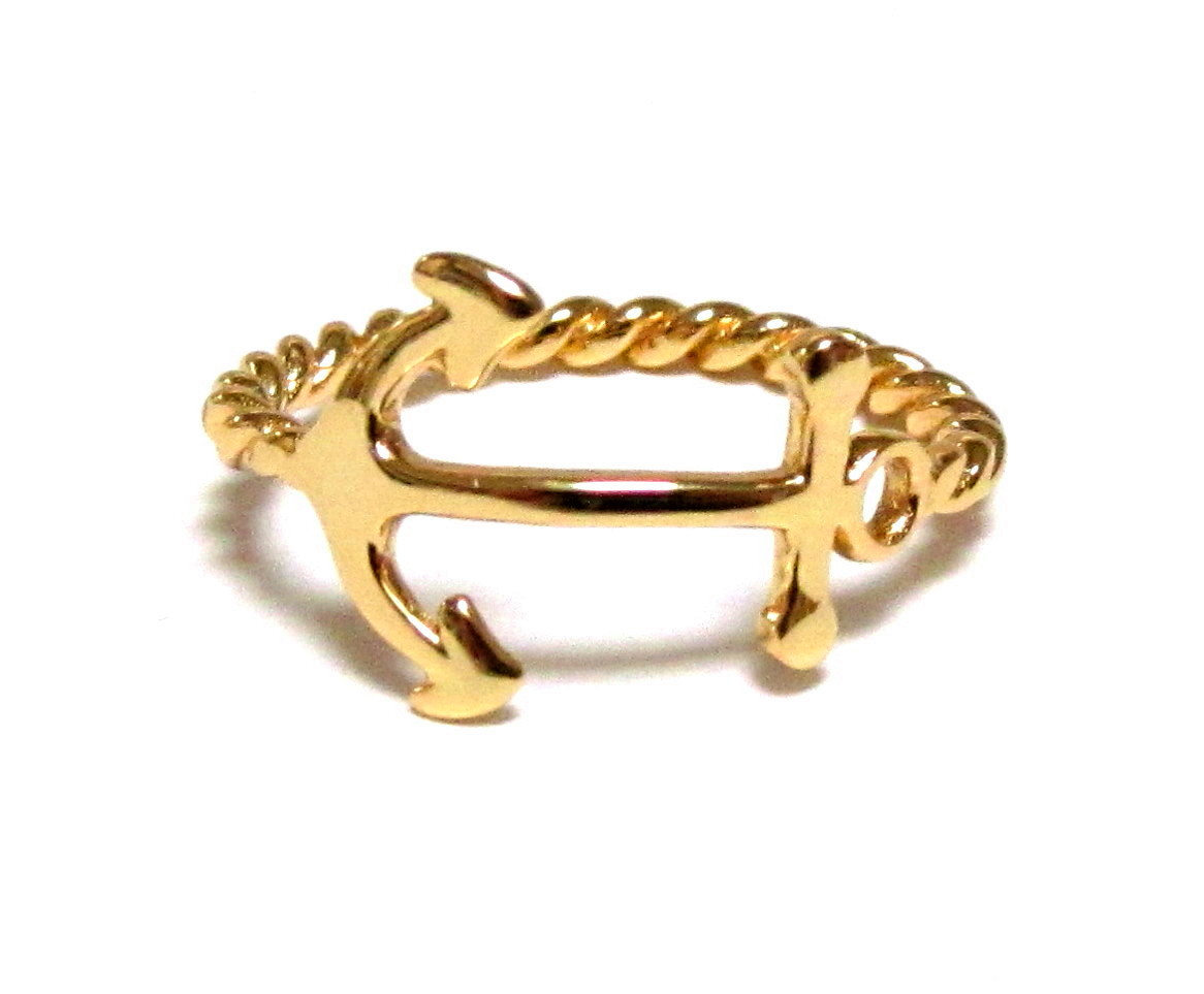 Anchor Ring-14 Kt Gold Over Sterling Silver Anchor Ring With Rope Band