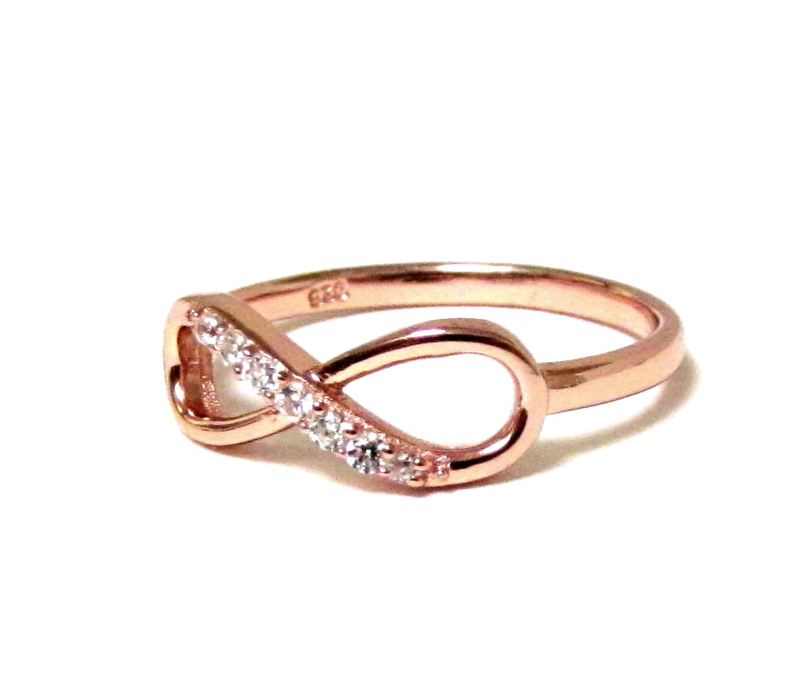 infinity ring gold. infinity ring-rose gold over sterling silver ring with cubic zirconia size 6