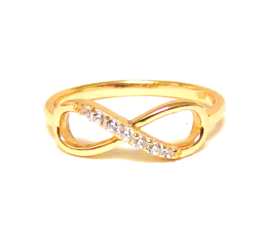 infinity ring gold. infinity ring-14 kt gold over sterling silver ring with cubic zirconia-size 8