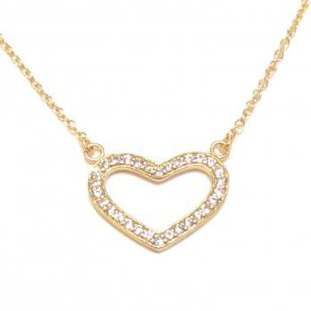 "Heart Necklace - 14 kt Gold over 925 Sterling Silver Open Heart Necklace with CZ on a 18"" chain"