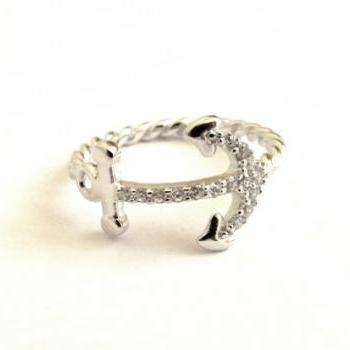 Sideways Anchor Ring-Sterling Silver W/ Rope Band and CZ-Sizes 5 to 9