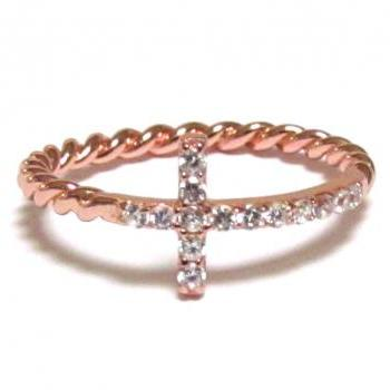 Sideways Cross Ring-Rose Gold Over 925 Sterling Silver With Hand Set CZ Ring With Rope Band-Size 8