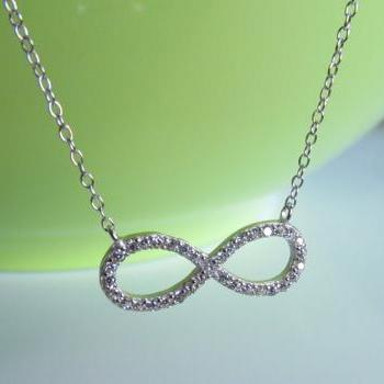 CZ Infinity Necklace-Rhodium Over 925 Sterling Silver Necklace With CZ On 16+2 Cable Chain