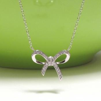 ADORABLE INFINITY BOW Necklace In Rhodium Over Sterling Silver-18 inches