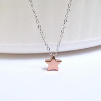 ADORABLE Rose Gold Star Necklace-Rose Gold Over 925 Sterling Silver-18 inches