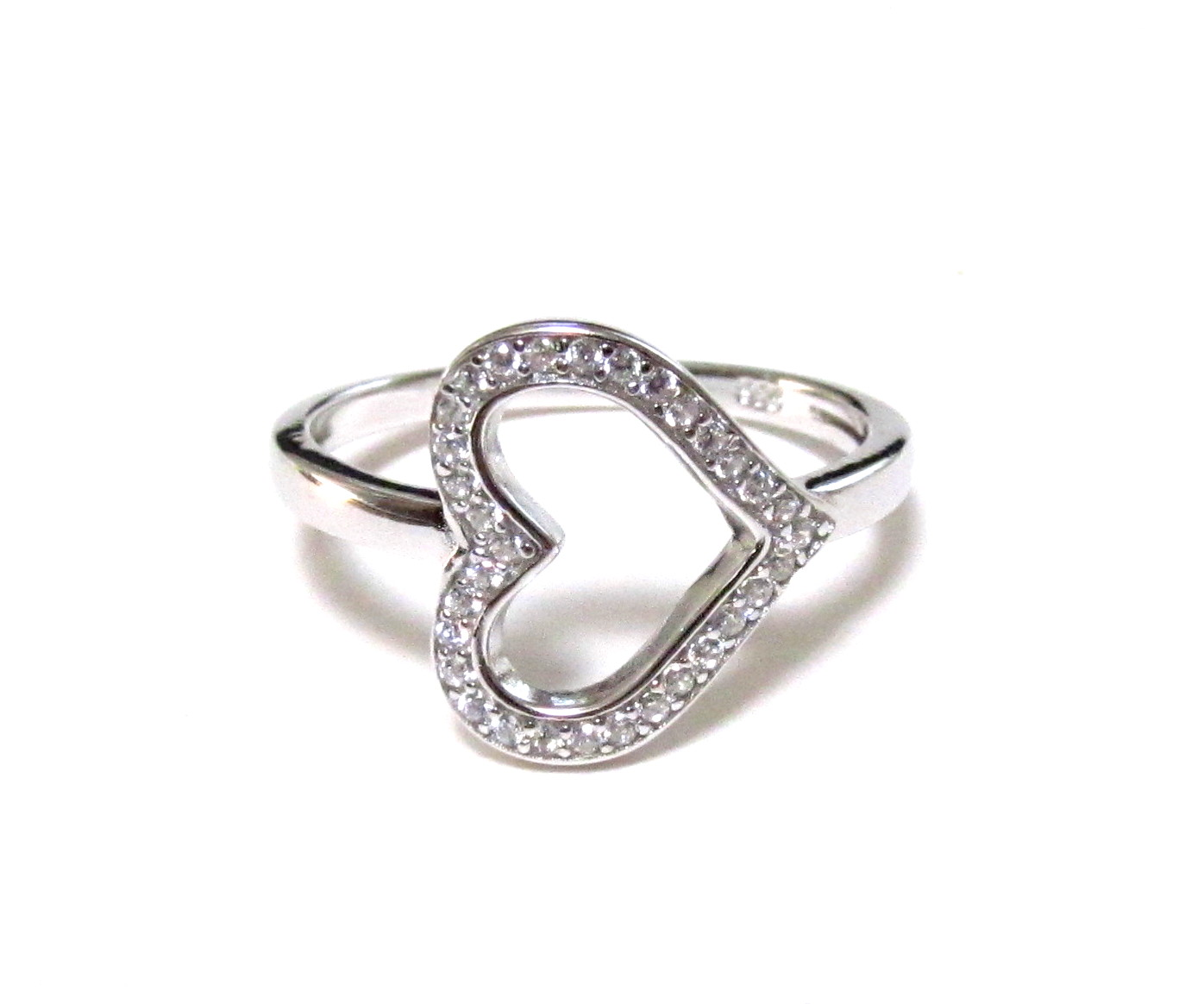 Brand new Sideways Heart RIng-Rhodium Over 925 Sterling Silver Ring With CZ  TO13