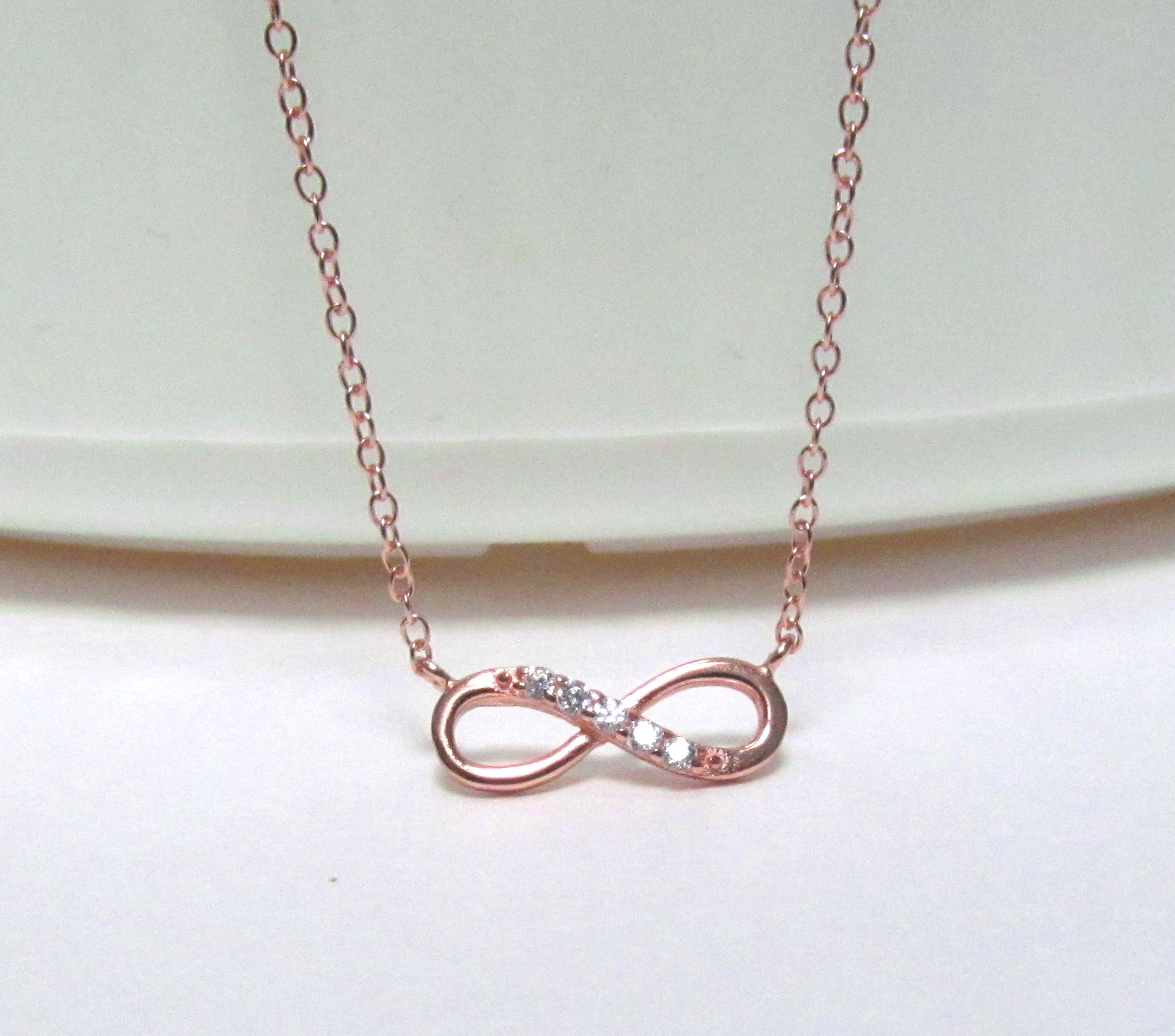 Infinity Necklace Petite Rose Gold Over 925 Sterling Silver